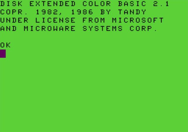 The boot screen of the TRS-80 Color Computer with Disk Extended Color Basic