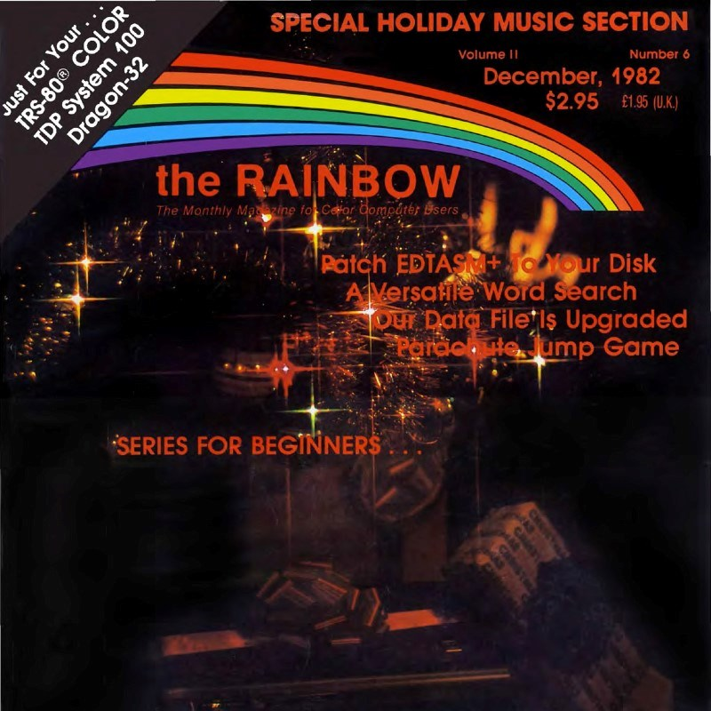 Portion of the cover of the December 1982 Rainbow magazine.