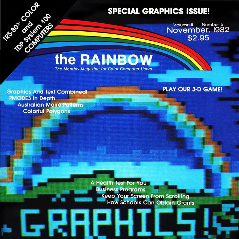 Portion of the front cover of the November 1982 issue of Rainbow magazine.